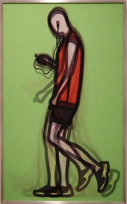 Julian Opie - mechanic, 2014, lenticular prints in a frame specified by the artist