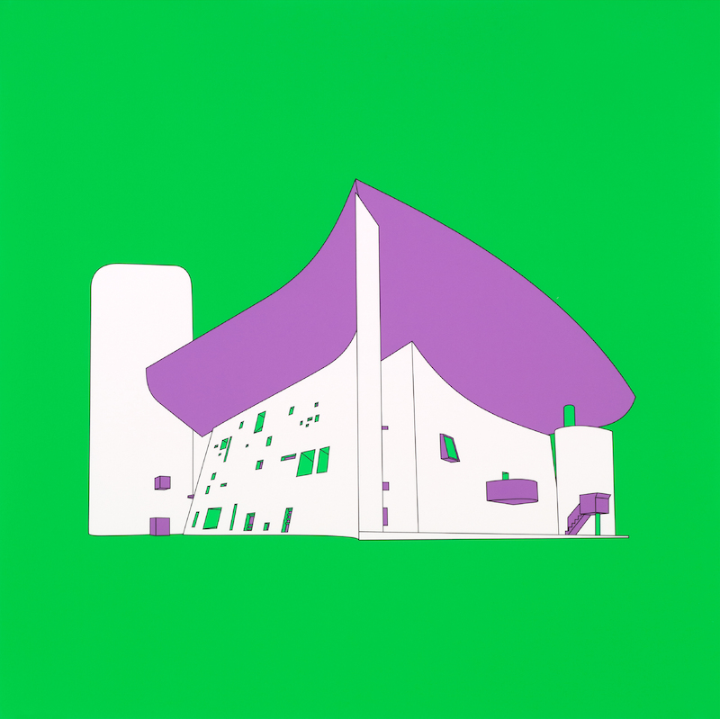 "Michael Craig-Martin: ""Plan and Elevation (Ronchamp, France - part 2 of diptychon)"" (2017)"