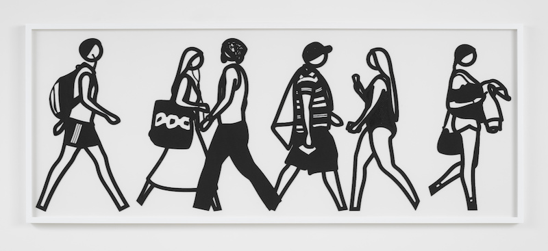Julian Opie - Walking in Melbourne 3, 2018, laser-cut Museum board relief in a white frame as specified by the artist