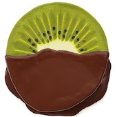 Peter Anton - chocolate dipped kiwi, 2019, mixed media