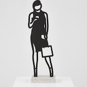 Julian Opie - Telephone, 2018, patinated black bronze statuette on a Crema Grey light stone base