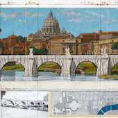Christo and Jeanne-Claude - Ponte San Angelo, Wrapped, Project für Rome, 2011, Collage mit Originalstoff, handübermalt